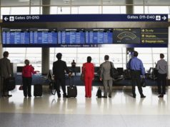 People Examining Flight Information