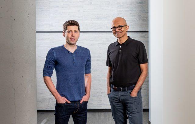 Microsoft CEO Satya Nadella and OpenAI CEO Sam Altman at the Microsoft campus